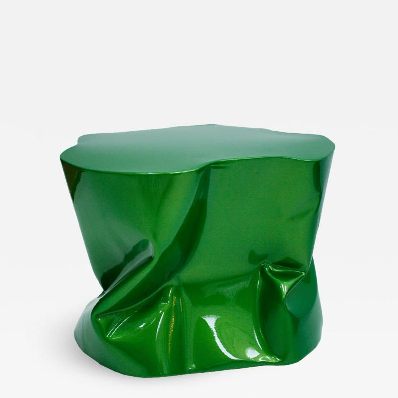 Ines Benavides Contemporary Modern Sculptural Metal Lacquered Green Seat Side Table