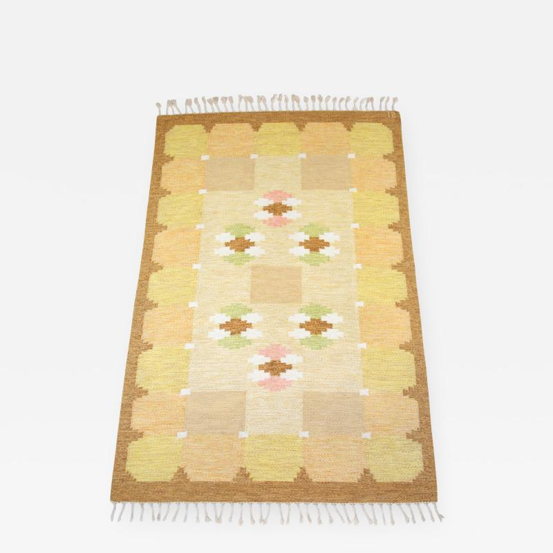 Ingegerd Silow Swedish Yellow Flat Weave R lakan rug