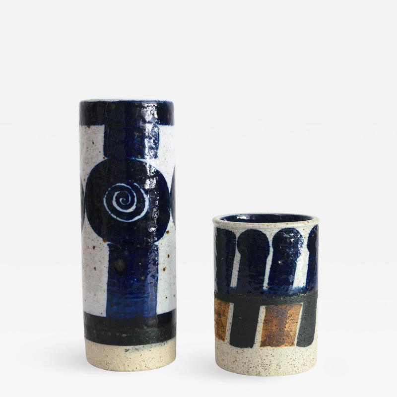 Inger Persson INGER PERSSON RORSTRAND STUDIO CERAMIC VASES BLUE BLACK AND WHITE