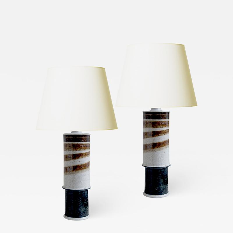 Inger Persson Pair of Brutalist Lamps by Inger Persson for Rorstrand