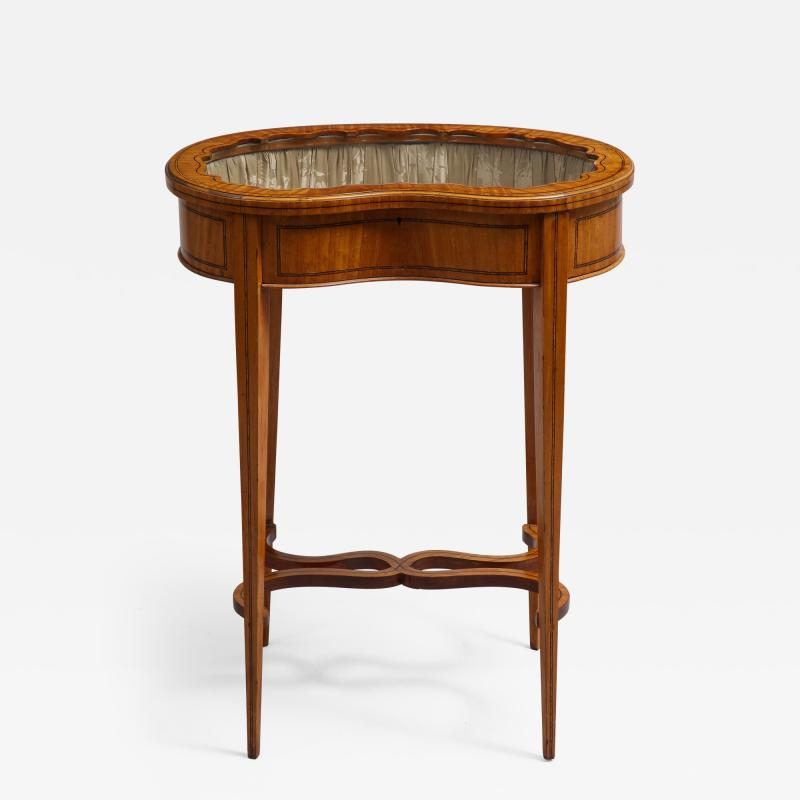Inlaid satinwood vitrine table