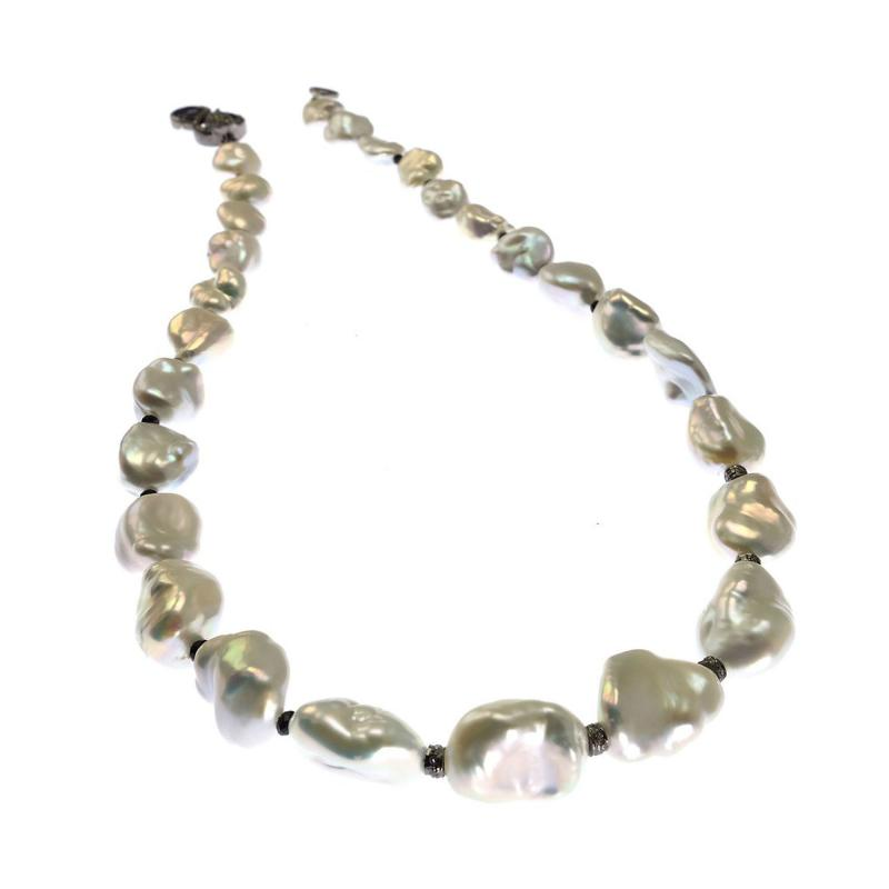 Iridescent Silver Baroque Freshwater Pearl Necklace with Diamond Accents