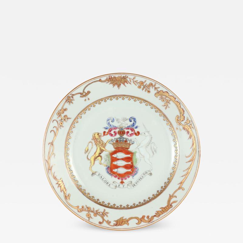 Irish Market Chinese Export Armorial Plate c 1750