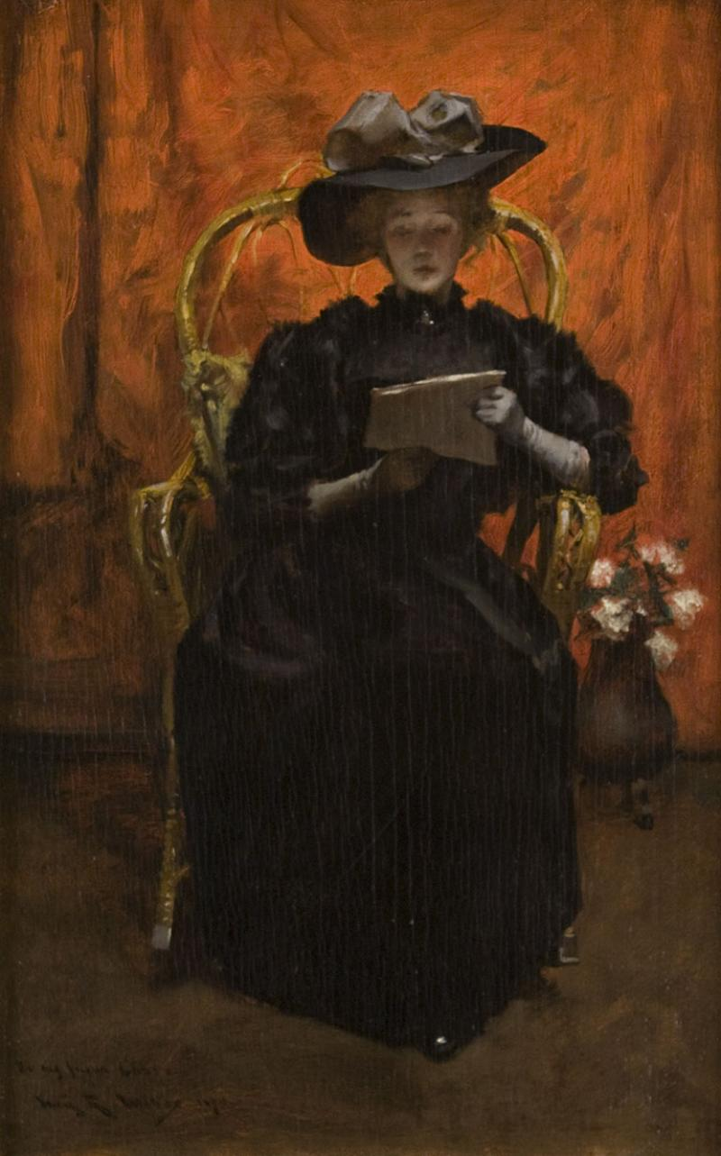 Irving Ramsey Wiles Lady in Black The Red Room 1890