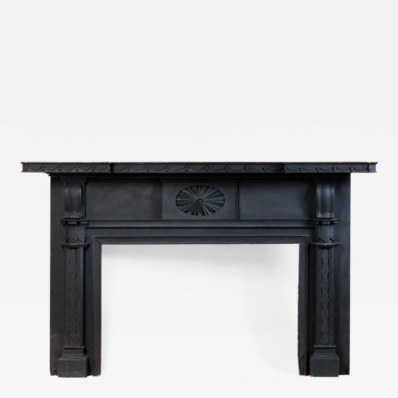Isaac Powell Carved and Painted Federal Mantelpiece