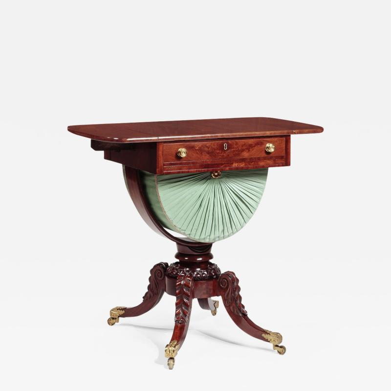 Isaac Vose Carved Mahogany Work Table with Demi Lune Bag