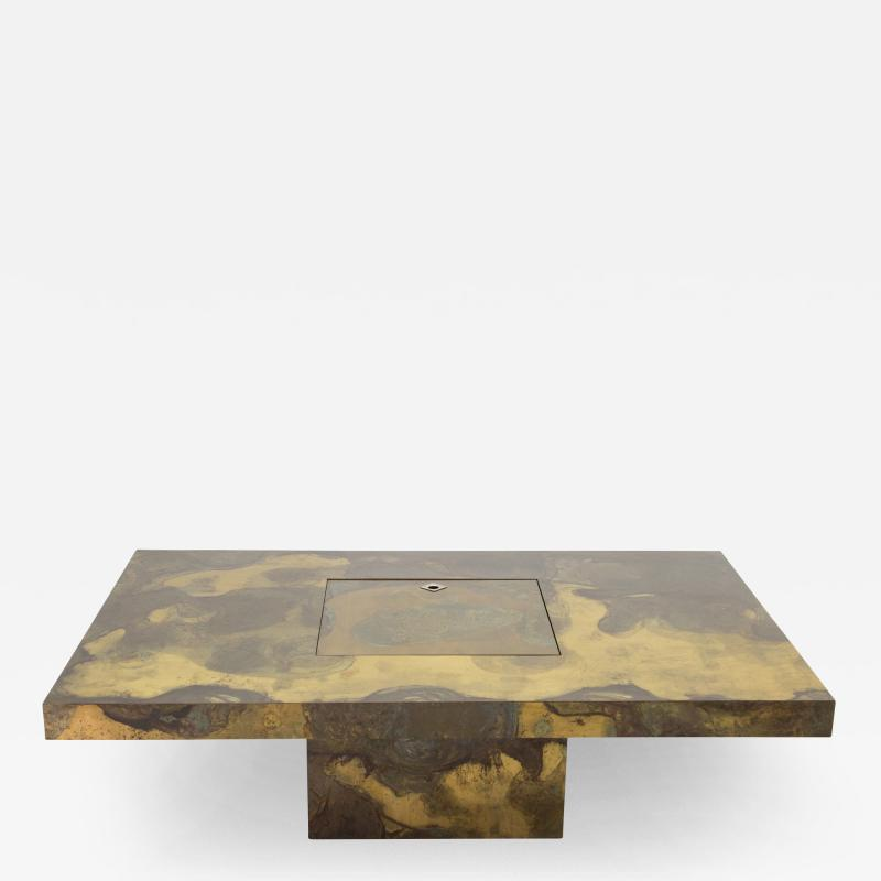 Isabelle Faure Unique Isabelle and Richard Faure brass coffee table 1970s