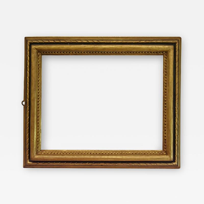 Italian 1650 Gold Black Picture Frame with Large Bead and Bullnose Profilee