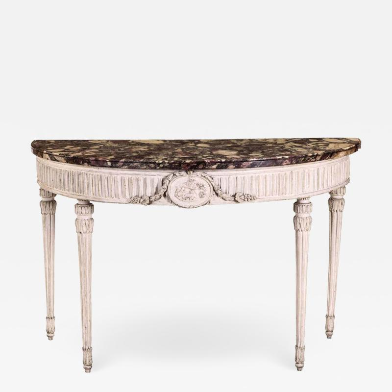 Italian 18th Century Demilune Ivory Painted Console Table Louis XVI Period