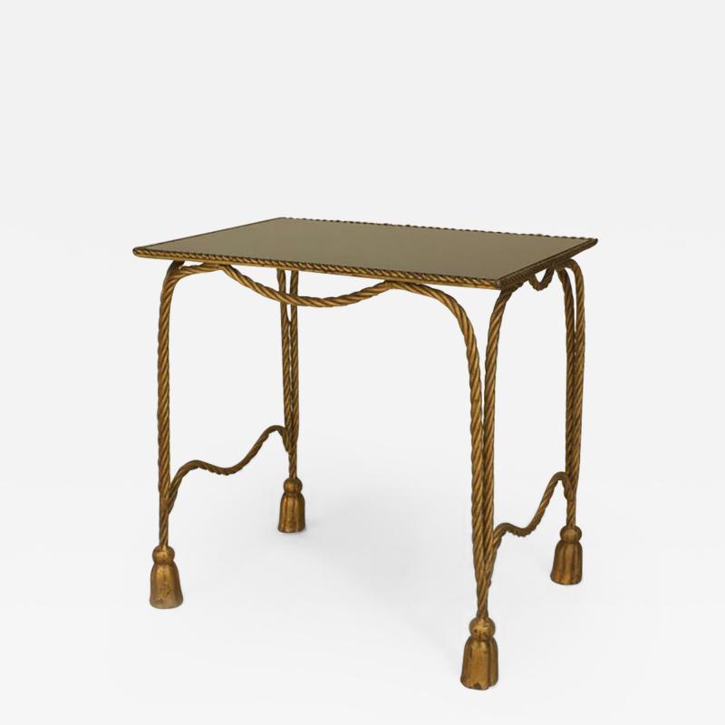 Italian 1940s Rope and Tassel Design Gilt Metal Rectangular Low End Table