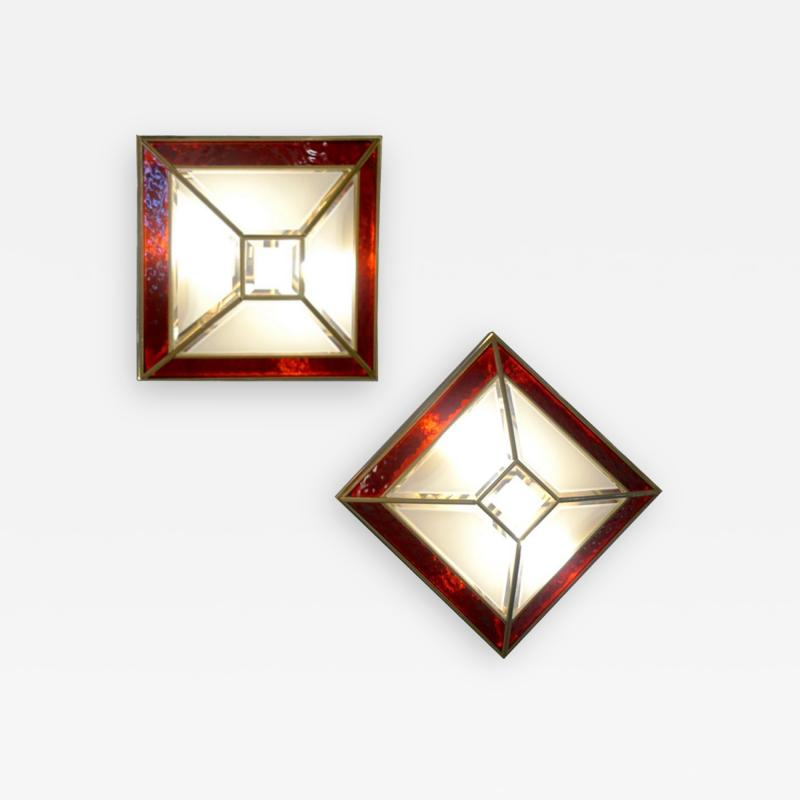 Italian 1950s Art Deco Style Pair of Red White Frosted Glass Sconces Flushmounts