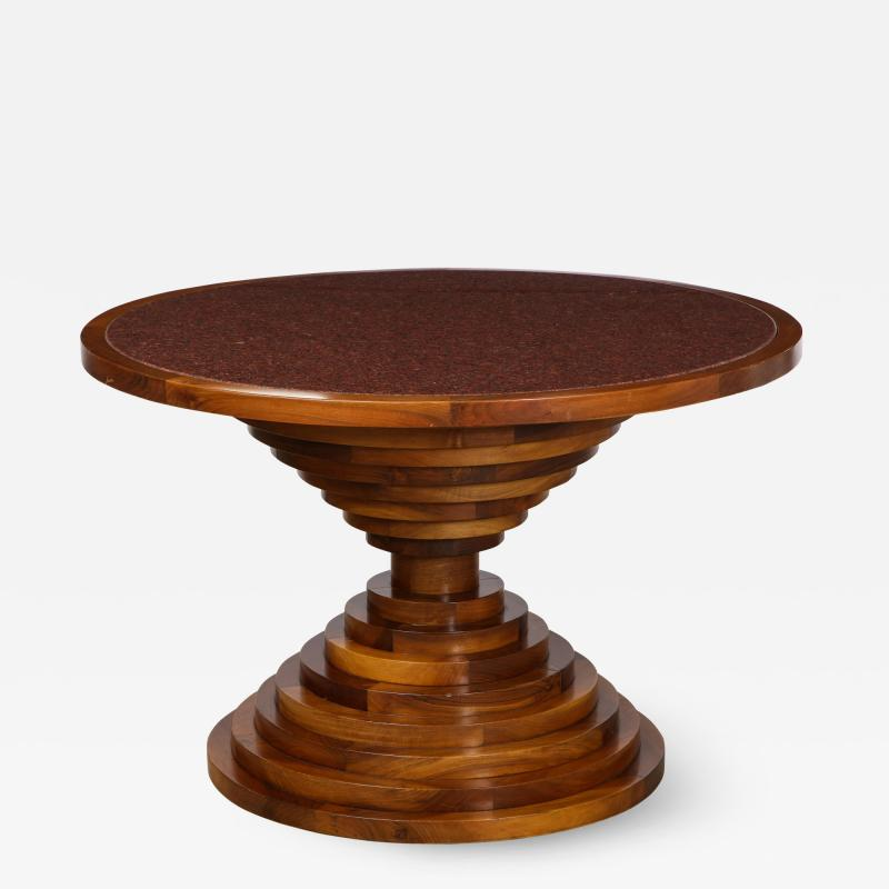 Italian 1970s Walnut Circular Dining Table with Marble Top