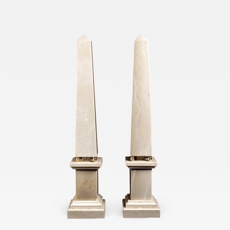 Italian 20th Century Pair of Cream Marble Obelisks with Gold Bronze Spheres