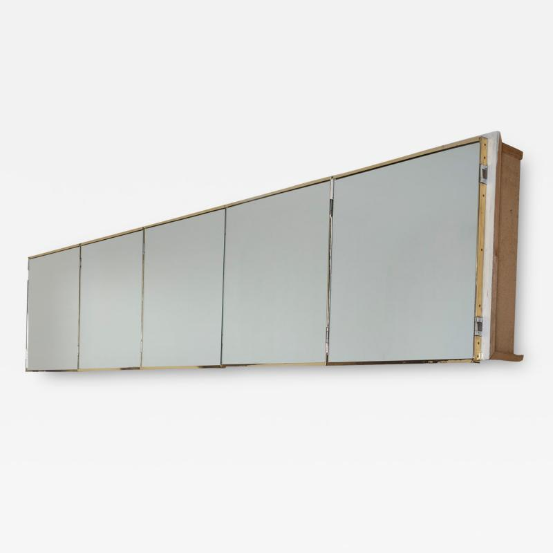 Italian 60s Wall Mounted Cabinet with 5 Mirrored Doors