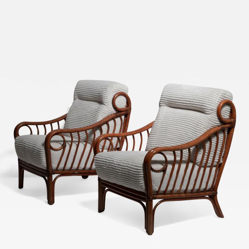 Italian 60s Wicker Lounge Chairs