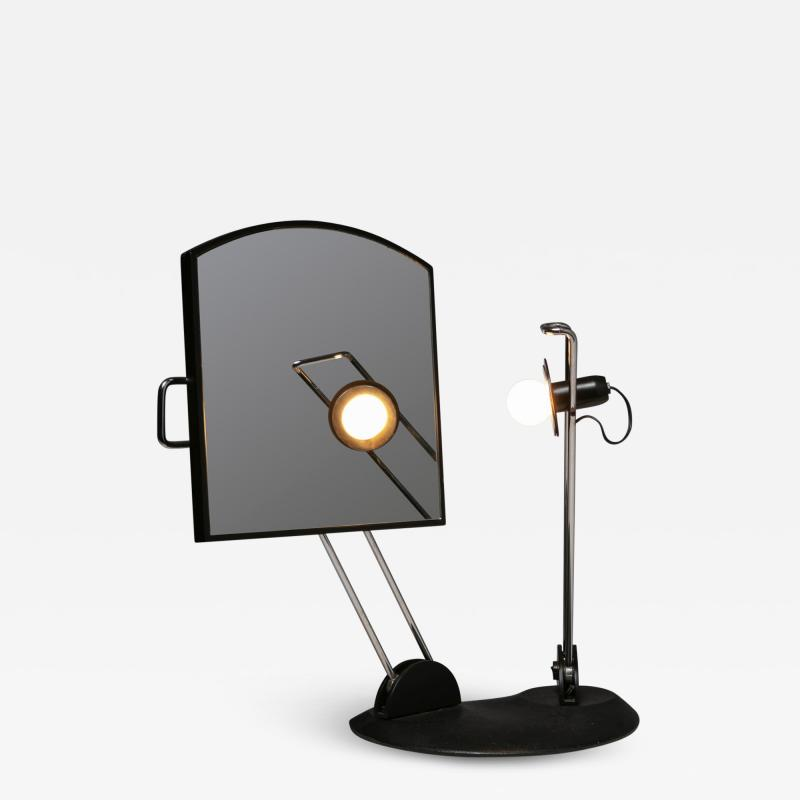 Italian 80s Articulated Desk Mirror with Lamp