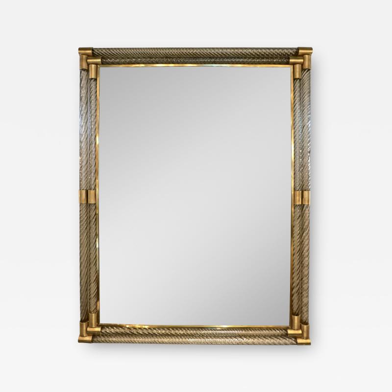 Italian Art Deco Design Twisted Gray Smoked Murano Glass Gold Brass Mirror