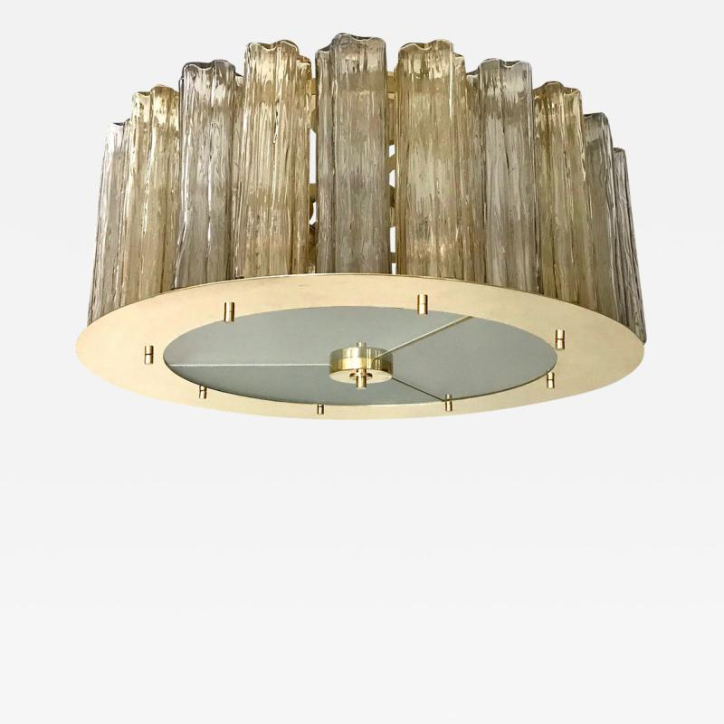 Italian Art Deco Style Crystal Smoked Murano Glass Round Flush Mount on Brass