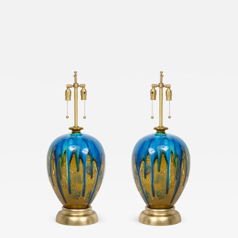 Italian Blue Green Drip Glaze Lamps