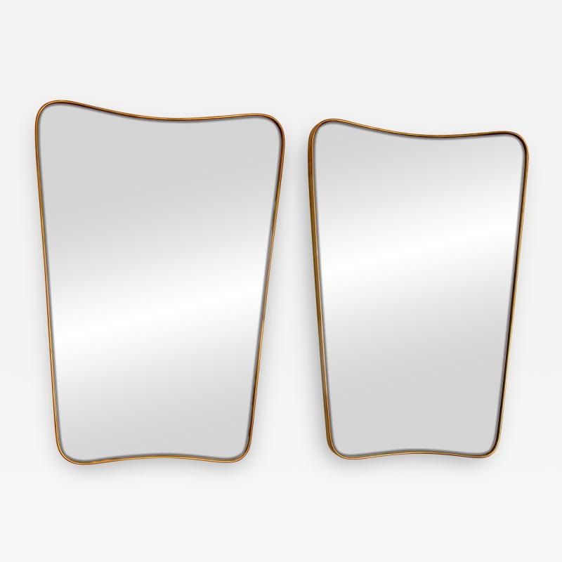 Italian Brass Framed Curved Top Vintage Shield Shaped Pair of Mirrors