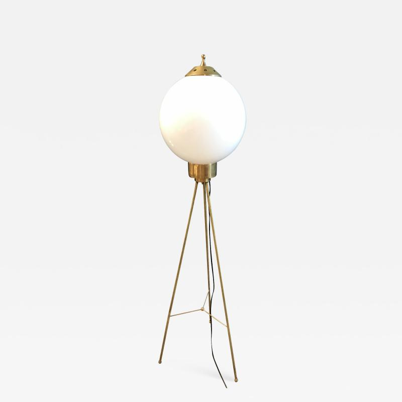 Italian Brass and Milk Glass Shape Tripod Floor Lamp 1950s