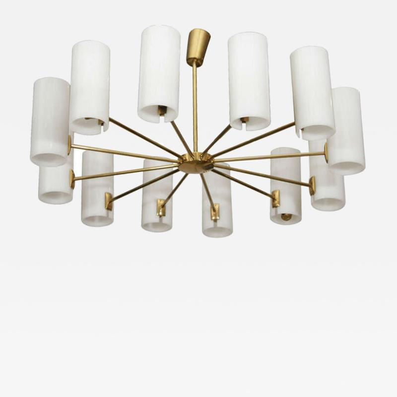Italian Brass and Perspex Chandelier Wagon Wheel Shape