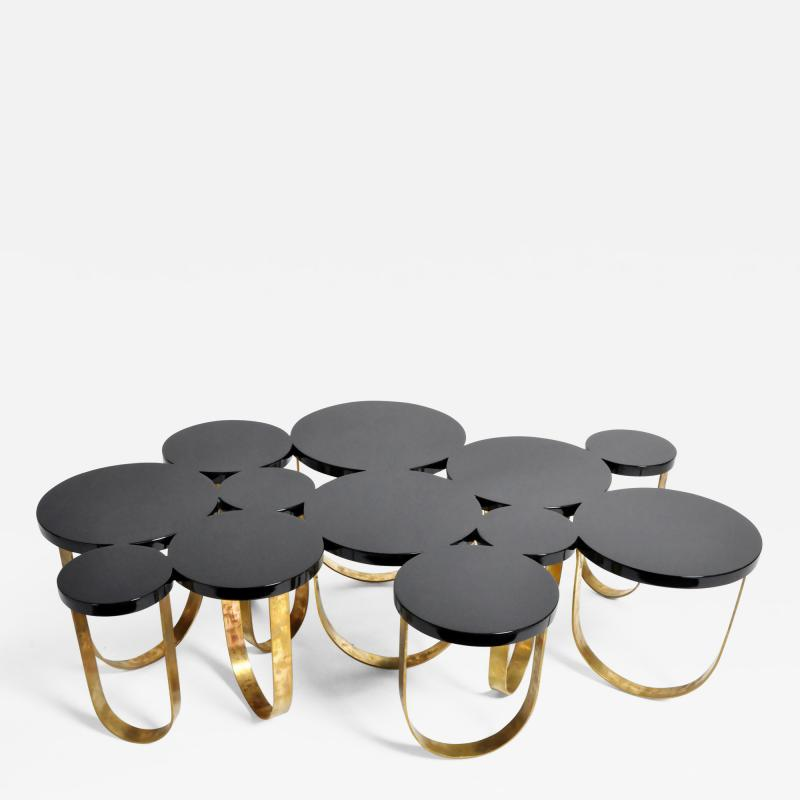 Italian Coffee Table with Brass Legs
