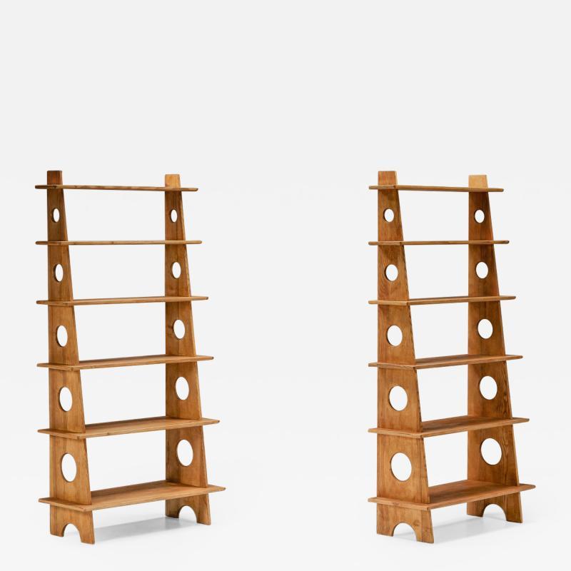 Italian Design Bookshelves In Solid Elm 1970s
