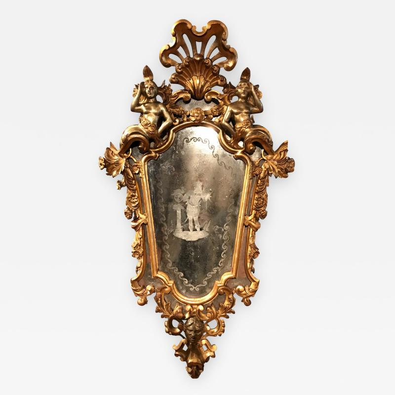 Italian Etched Carved Giltwood Mirror