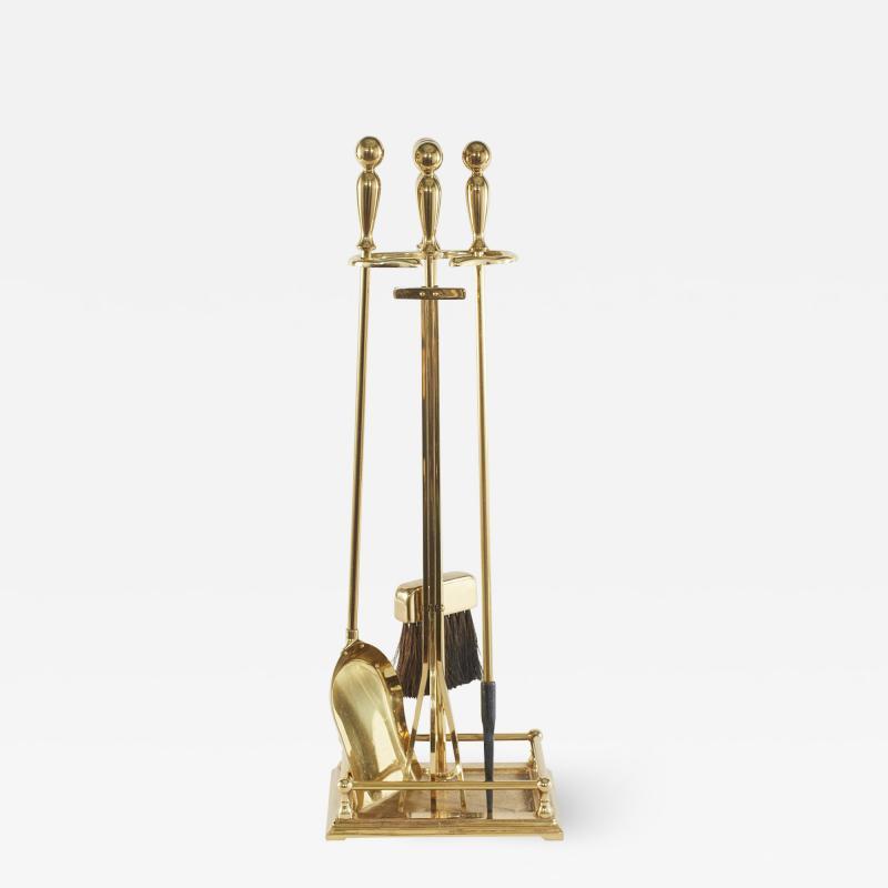 Italian Five Piece Solid Brass Fireplace Tool Set