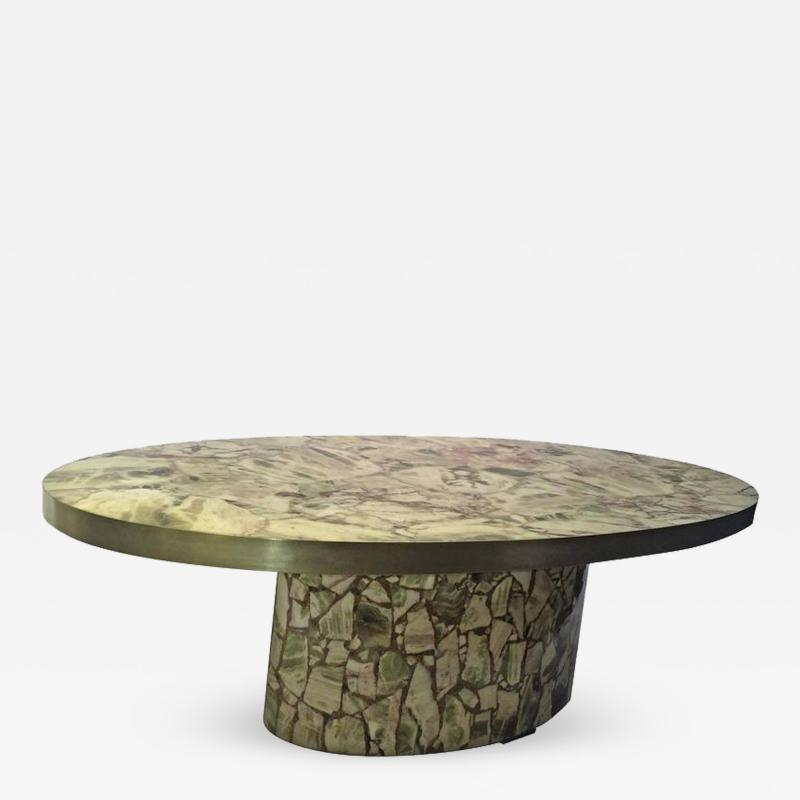Italian Fractured Green Onyx Resin Oval Coffee Table