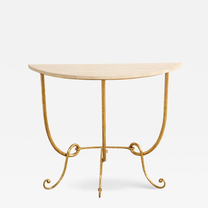 Italian Gilded Iron Demilune Console Table with Travertine Top