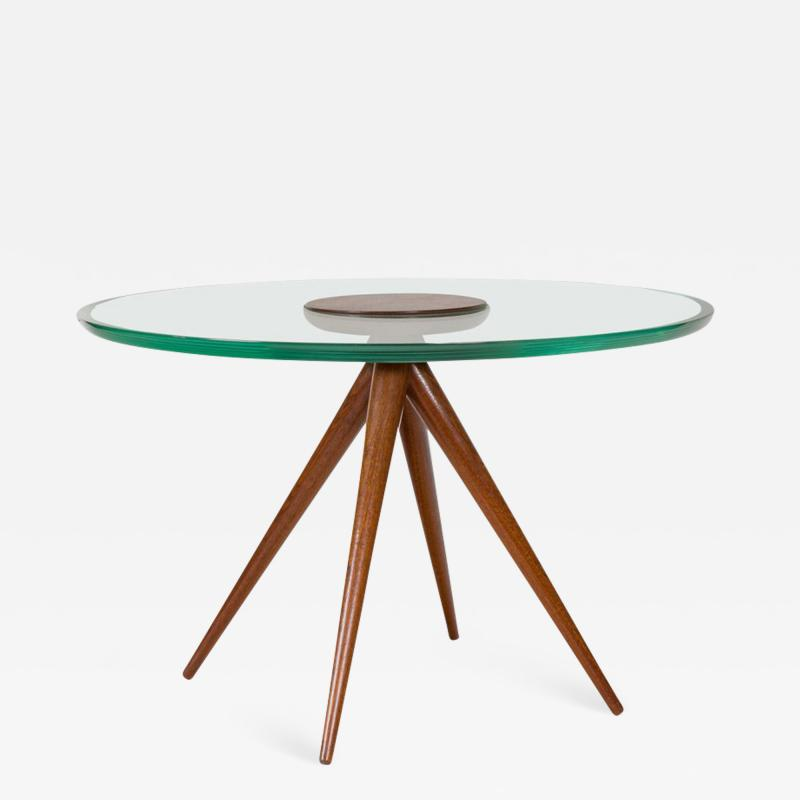 Italian Glass and Mahogany Round Occasional Table in the Manner of Pietro Chiesa