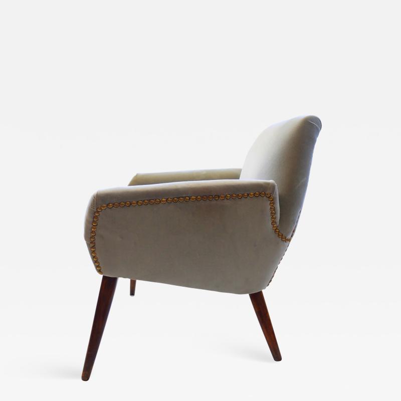 Italian Grey Velvet Armchair 1950s
