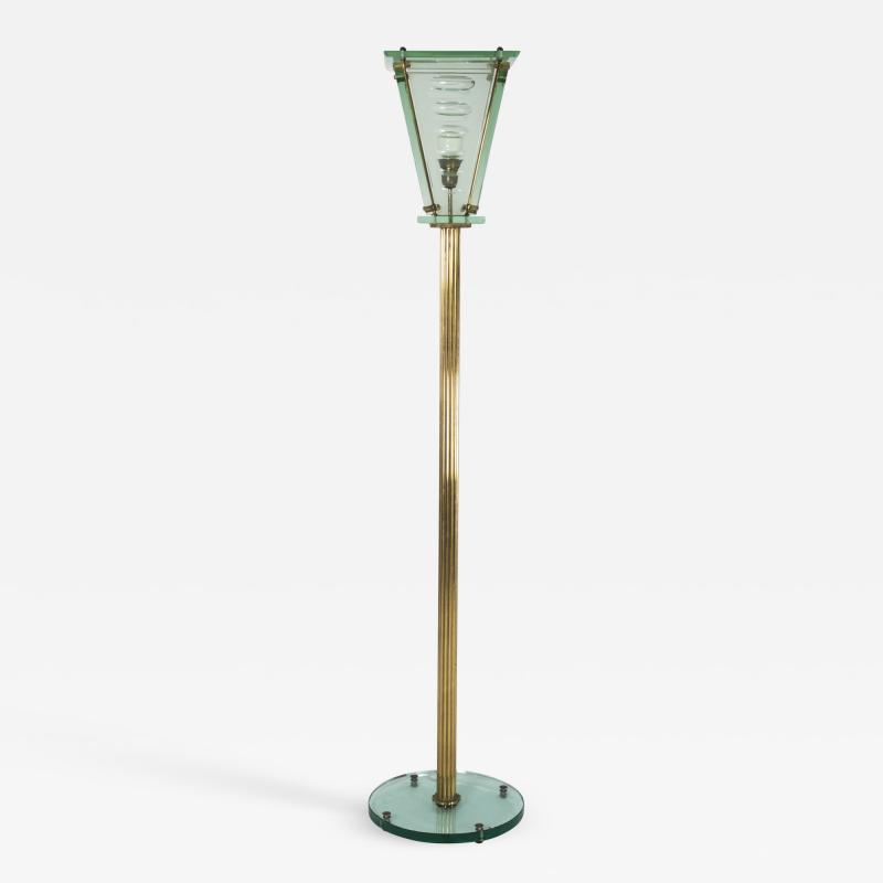 Italian Lantern Floor lamp in Brass and Cut Glass 1940s