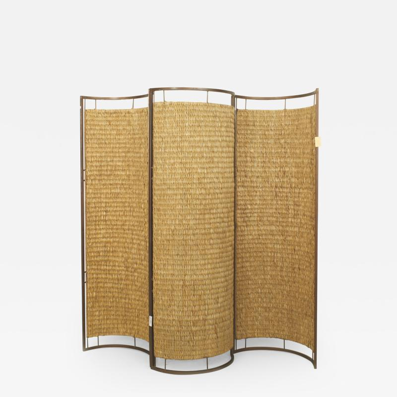 Italian Mid Century 3 Concave Panel Woven Rattan Screen