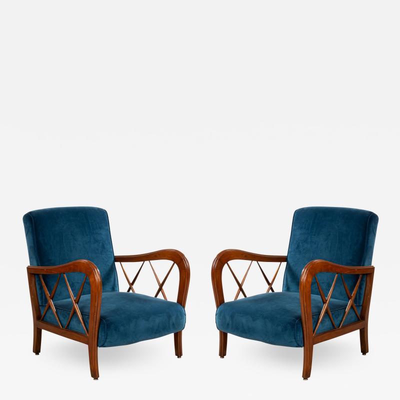 Italian Mid Century Blue Velvet and Walnut Lounge Armchairs