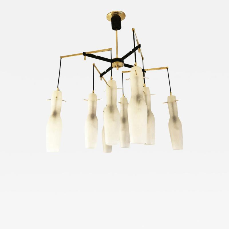 Italian Mid Century Chandelier with Fluted Glass Shades