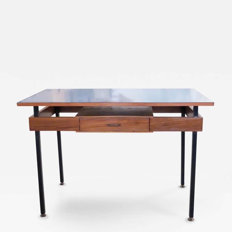 Italian Mid Century Modern Desk with Blue Veneer Tabletop 1950s