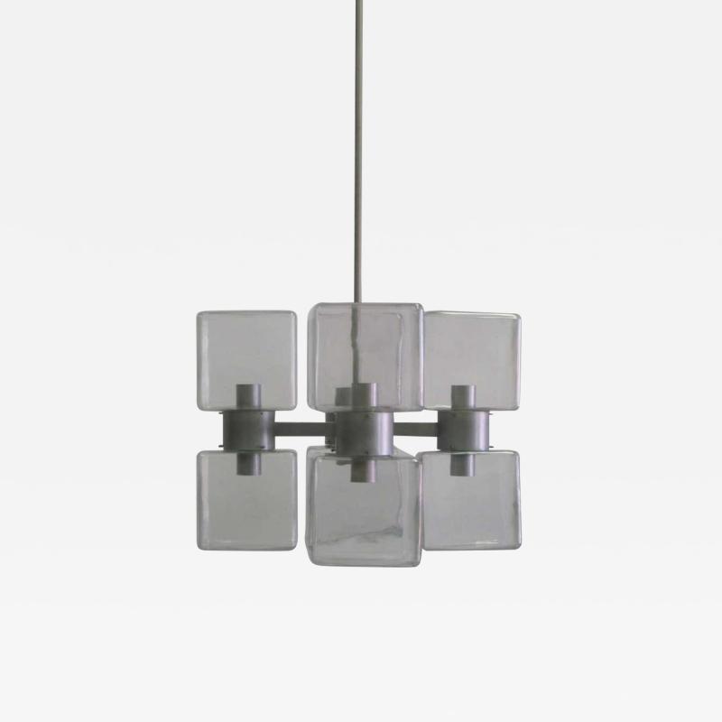 Italian Mid Century Modern Murano Venetian Glass Chandelier 1960