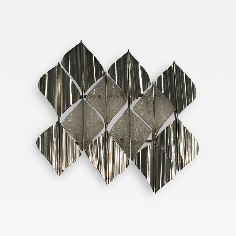 Italian Modern Handblown Glass and Polished Stainless Steel Wall Light Mazzega