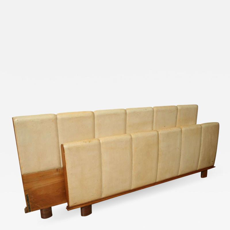 Italian Modern Parchment and Pearwood Bed by Borsani