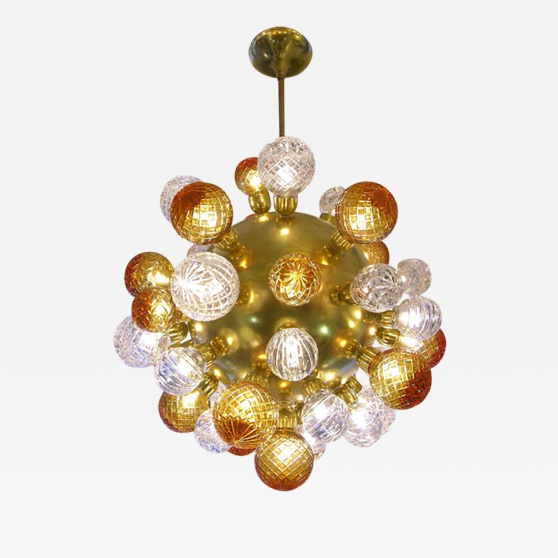 Italian Modern Sputnik Brass Chandelier with Crystal and Gold Swarovski Balls