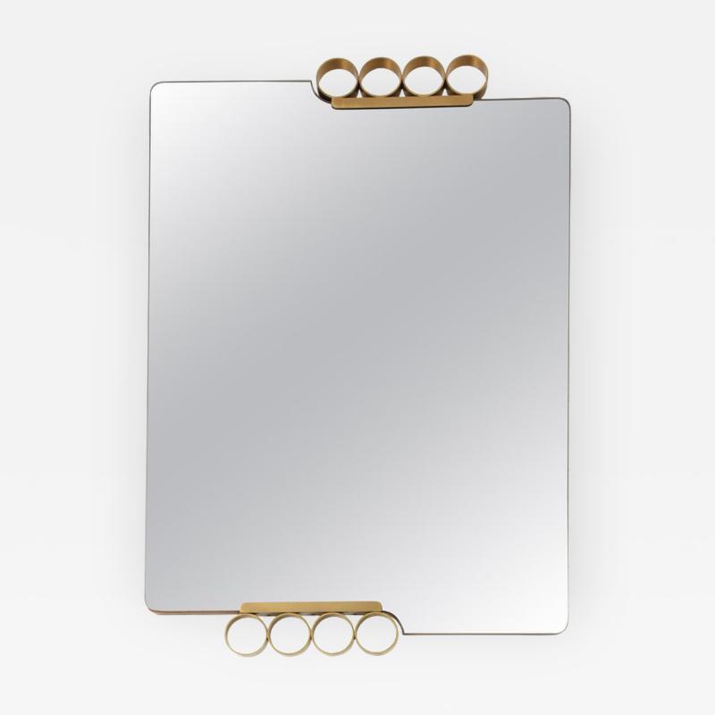 Italian Modernist Brass Mirror