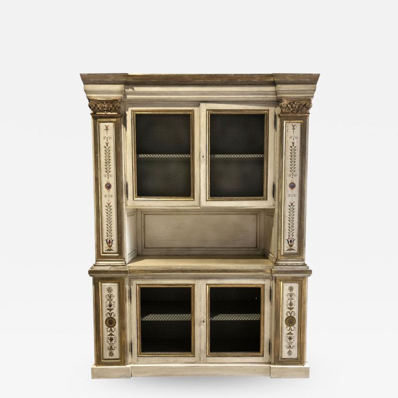 Italian Neoclassic Style Cream Painted and Parcel Gilt Breakfront Bookcase