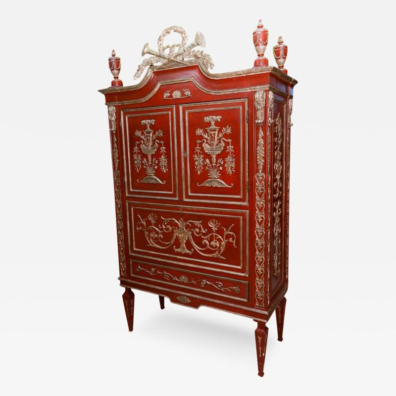 Italian Neoclassic Style Scarlet Painted and Silver Gilt Cabinet