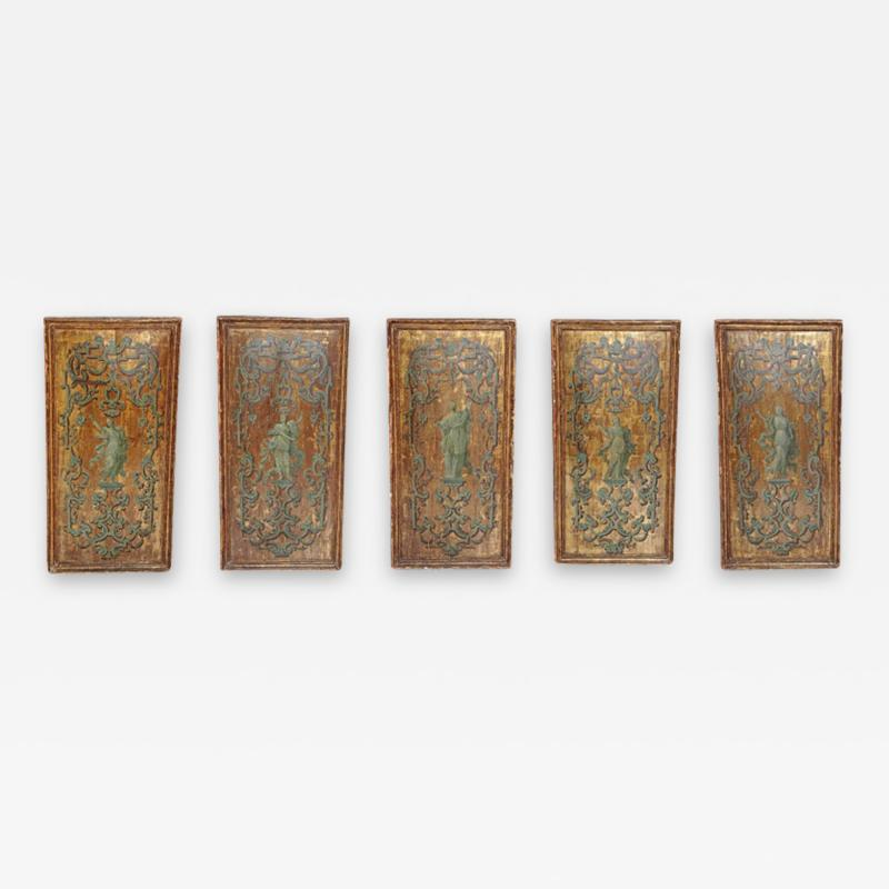 Italian Neoclassical Paint and Parcel Gilt Panels Roman Goddesses Muses