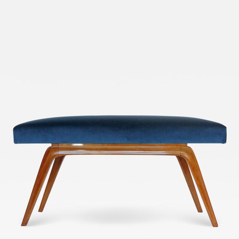 Italian Organic 1940s Wooden Bench and Blue Velvet