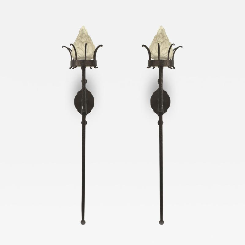 Italian Renaissance Style Wrought Iron and Glass Torch Wall Sconces