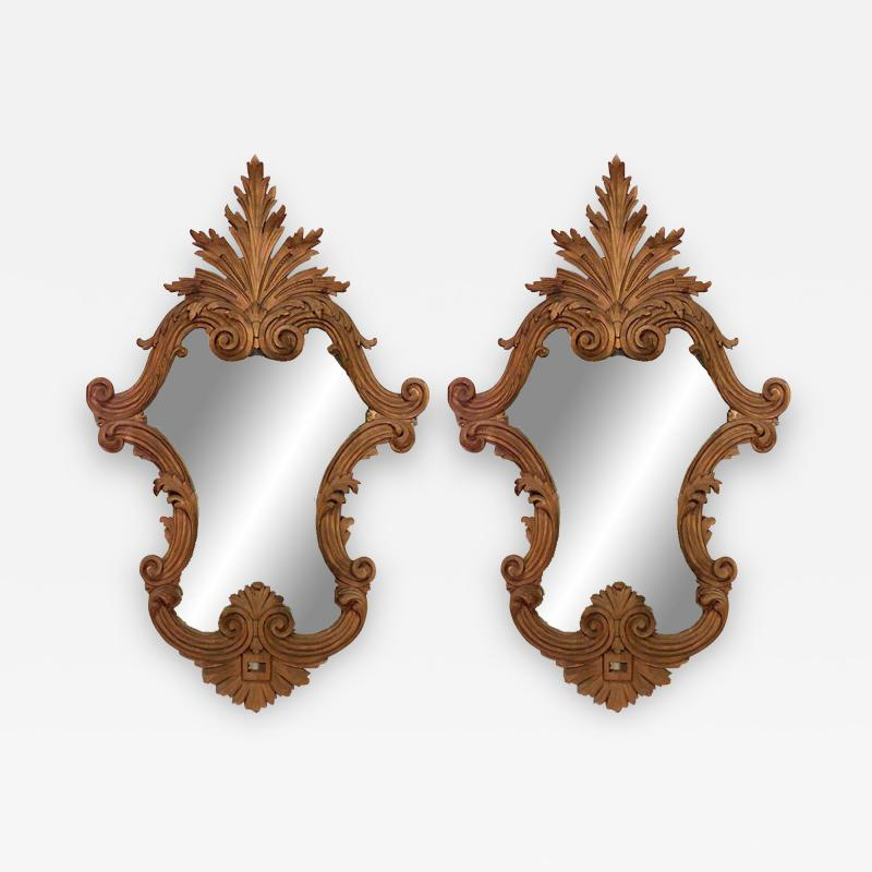 Italian Rococo Carved Fruitwood Wall Mirrors